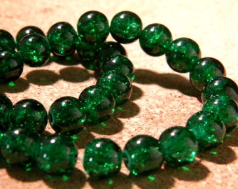 glass Crackle 8 mm - dark green - PE281 50 beads