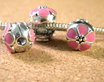 Clip clasp - blocker stopper for European bead bracelet style pandor @ 11 x 1 mm-C52 pink cherry blossom