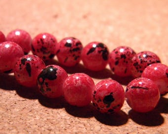 10 glass beads fashion reality - 8 mm red burgundy speckled - PF24-5