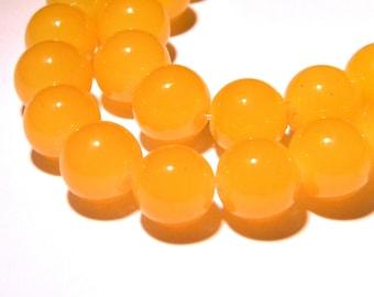 """10 glass 12 mm way """"jade"""" beads - yellow - PG261"""