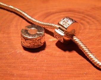 2 clip clasp - silver - blocker stopper for European bead bracelet style pandor @ 11 x 10.5 mm D121