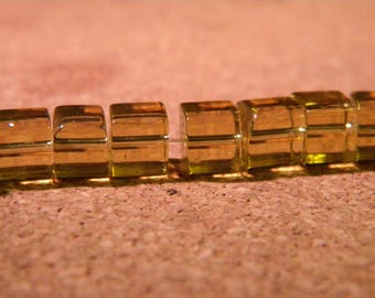 45 way square Crystal 6 mm glass beads yellow honey - PE276-3