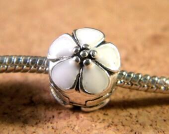 3 clip clasp - blocker stopper for European bead bracelet style pandor @ 11 x 1 mm-C53 white cherry blossom
