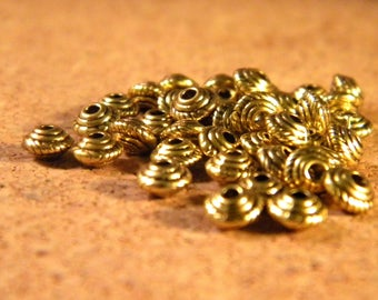 50 spacer bead spacer - tapered metal Gold - 5 mm BD1