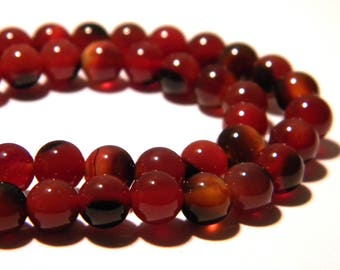 20 beads - 6 mm agate-red brown - stone semi-precious agate beads - K43-gems