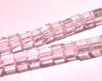 50 glass - cube with 4 mm - fashion Crystal beads - translucent pale pink - PG290-10
