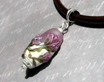 Beige pink Handmade Lampwork Pendant, Lampwork Pendant,Glass Pendant