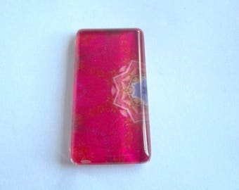 1 cabochon glass size 48 mm x 24mm rose theme