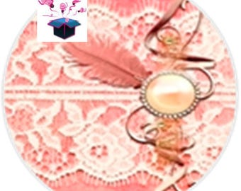 1 cabochon clear 40 mm round lace theme