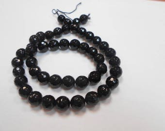 1 strand of 46 round beads black agate faceted 8 mm