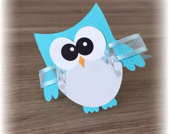 brand-square shape blue owls + Ribbon