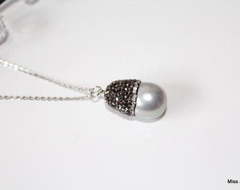 Stainless steel chain necklace, Pearl drop