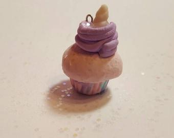 Unicorn clay miniature cupcake charm