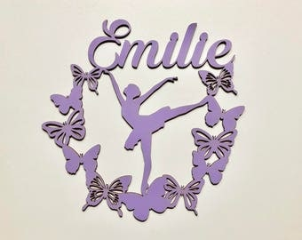 Child's door - star and Butterfly dancer - name wood