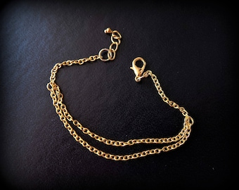 Bracelet 16.5 cm - gold plated chain - link chain of 2 x 3 mm-