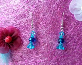 Earrings glass shade of blue