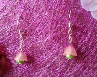 Pink & green Bell Flower Earrings