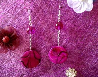 black and fuchsia Pearl Earrings