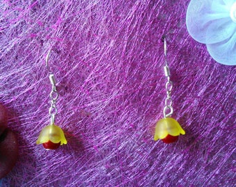 Yellow & Red Bell Flower Earrings