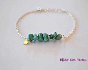 Bracelet Howlite turquoise 925 sterling silver
