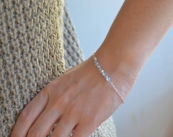 Faceted glass beads and fine 925 sterling silver chain bracelet