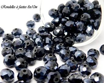 "25 Crystal AB ""Swarovski Crystal imitation"" black faceted glass beads"