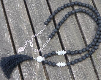 Long necklace ethnic mala beads with black lava and Quartz rock crystal