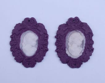 """Creation """"Cameo Shabby, romantic"""" pieces purple polymer clay, Fimo"""
