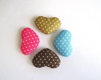 set no. 1 of 4 cabochons hearts fabric