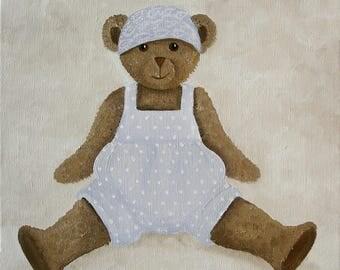 CANVAS Teddy bear children's bedroom - Ref. Polka dot sky