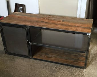 Industrial tv stand wood and steel