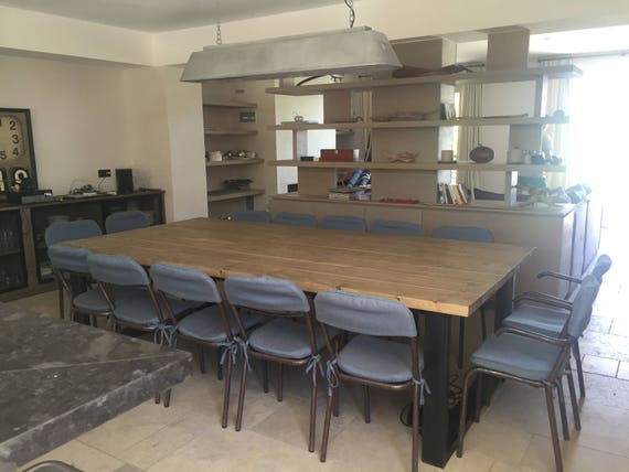 Table de salle manger style industriel xxl pied en acier for Salle a manger xxl