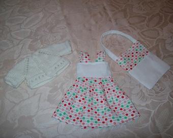 vêtements pour poupées de 32 /33 cm,compatible avec les chéries(robe, gilet ou pull,sac)