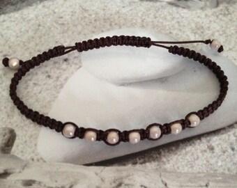 Chocolate macrame bracelet and magic pearls