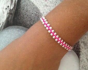 Beaded braided bracelet pink neon adult