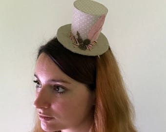 Small top hat beige and pink