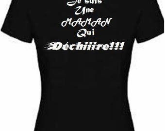 Women's black T-shirt with text