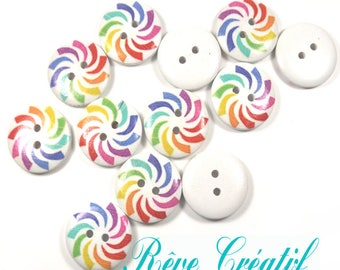2-Hole Wooden Buttons, Printed Flat Round Button, Colorful, 20x4.5mm, Hole: 1.5mm
