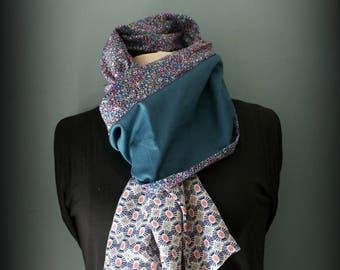 Etole  foulard  écharpe cheich Blue flowers