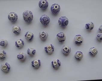 Purple Rose, set of 27 beads polymer clay