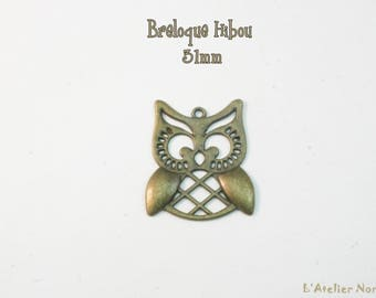 31 mm antique Bronze OWL charm