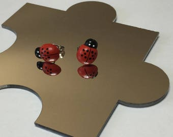 Red and black ladybird earrings