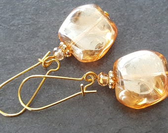 champagne gold glass beads earrings