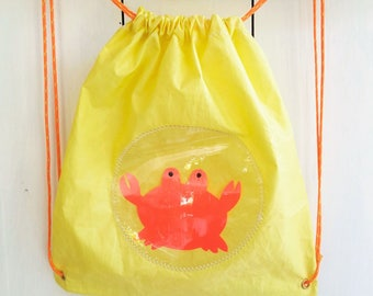 Backpack child yellow recycled boat sail and crab orange