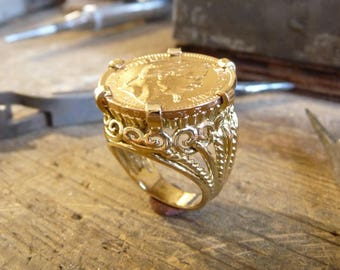 Gold filigree ring piece 20 Francs Napoleon scratched