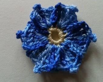 Blue yellow flower cronus kousa crochet applique for sale individually