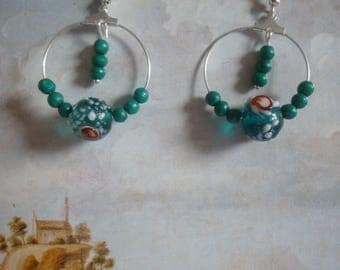 Emerald green glass bead hoop earrings