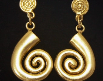 24K GP Precolumbian earrings spiral LONG LIFE AD028