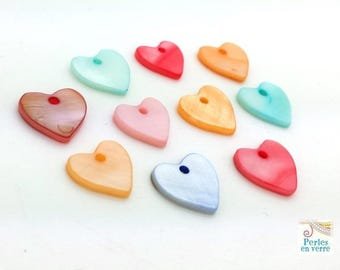 10 charms hearts multicolor Pearl, 12mm (PN42)