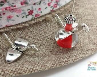 6 bird crane 10x22x24mm (pm213) nickel silver metal beads